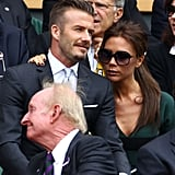 David and Victoria Beckham shared a sweet moment in the stands.