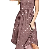 Simier Fariry Pleated Polka Dot Midi Dress