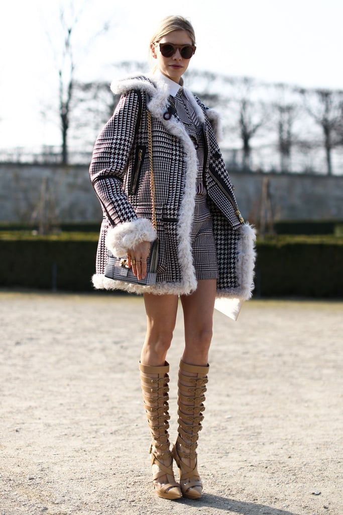 The sophisticated plaid was the perfect piece to offset a pair of dramatic sandal boots.