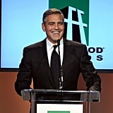 George Clooney shared a laugh on stage.
