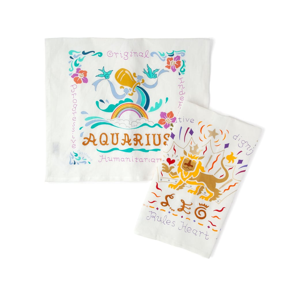Embroidered Astrology Tea Towel