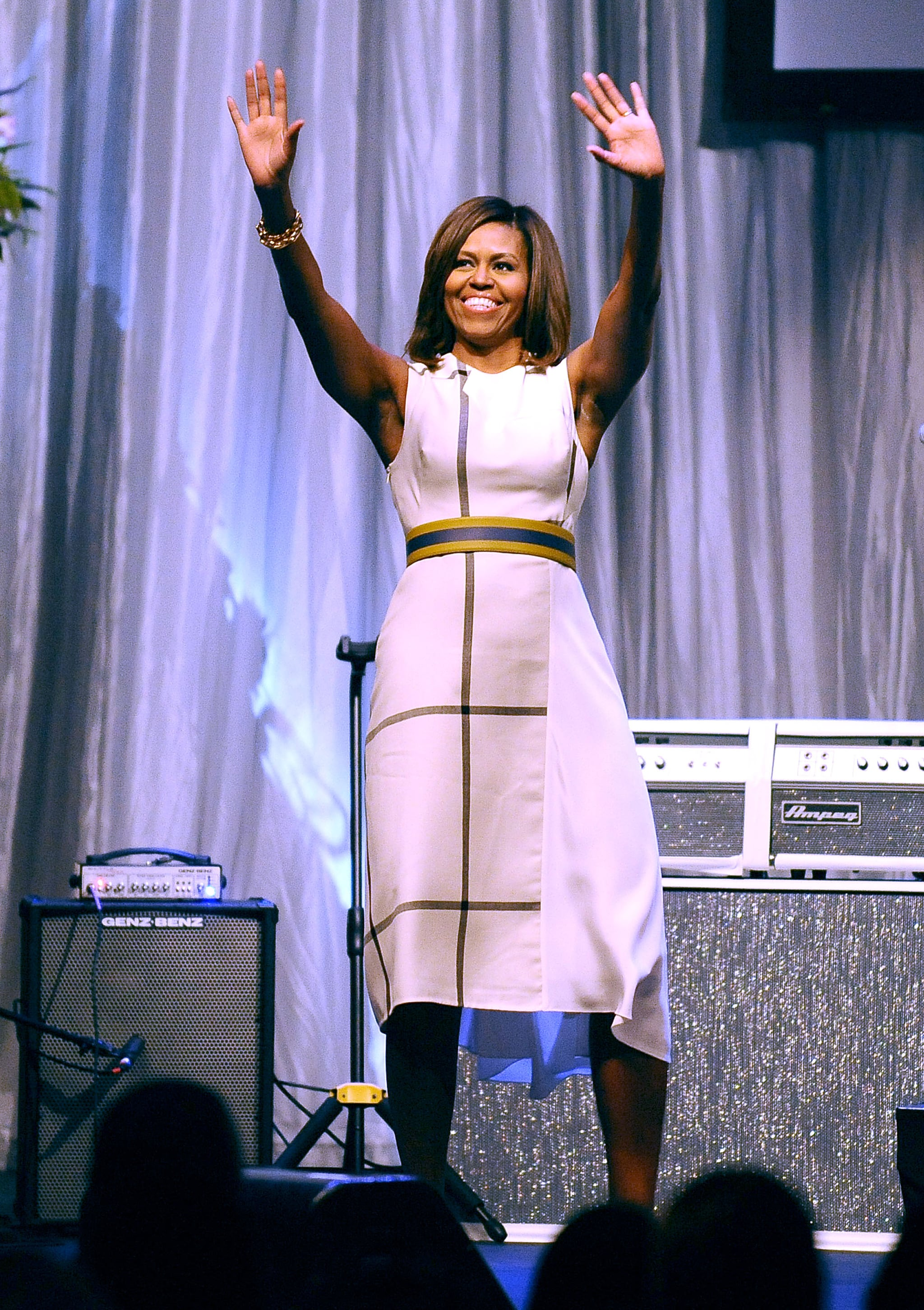 At the Grammy Museum's Jane Ortner Education Award Luncheon, the FLOTUS sported this geometric 3.1 Phillip Lim design, smartly accessorizing with nothing but a chunky bauble on her wrist.