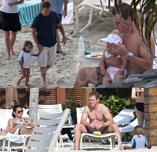Photos of Matt Damon Shirtless in the Caribbean With Luciana Damon, Isabella Damon, Gia Damon