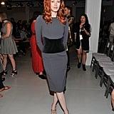 Karen Elson worked her curves for Zac Posen's runway show.