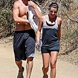 Lea Michele went hiking with shirtless boyfriend Matthew Paetz in LA on Saturday.