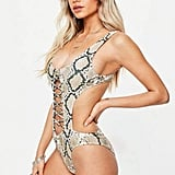 Missguided Gray Snake-Print Extreme Cut-Out Lace-Up Swimsuit