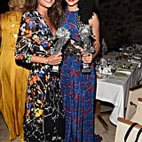 Cozying up to actress Nathalie Emmanuel, Alicia wore printed Preen dress to the Ischia Film Festival in July.