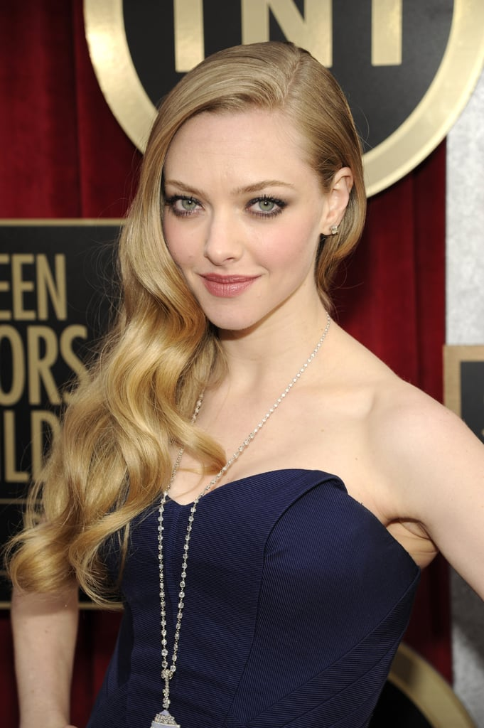 Amanda Seyfried wore a blue Zac Posen gown.