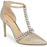 Jewel Badgley Mischka Meena Crystal Embellished T-Strap Pump