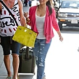 Kim Kardashian in pink at LAX.