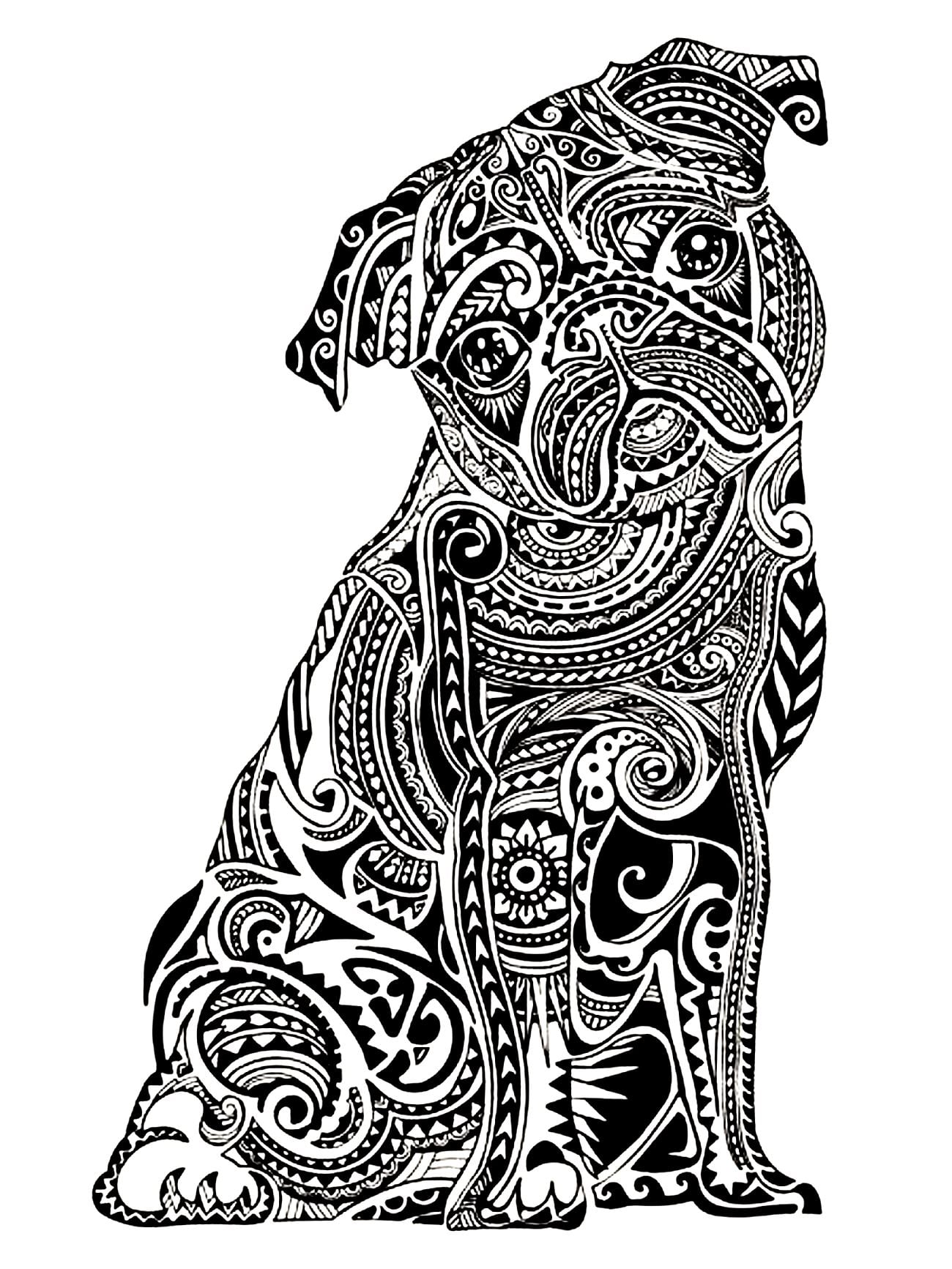 Get The Coloring Page Pug 50 Printable Adult Coloring