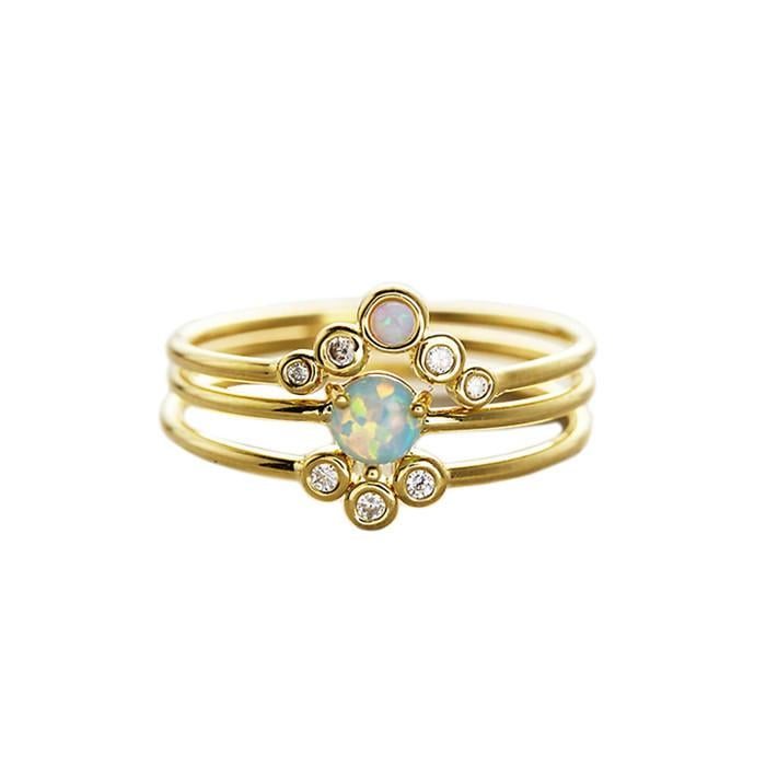 Tai Jewelry Triple Gold And Opal Stack Rings