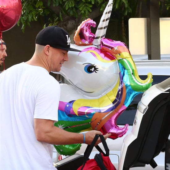 Channing Tatum With Unicorn Balloons on His Birthday 2017