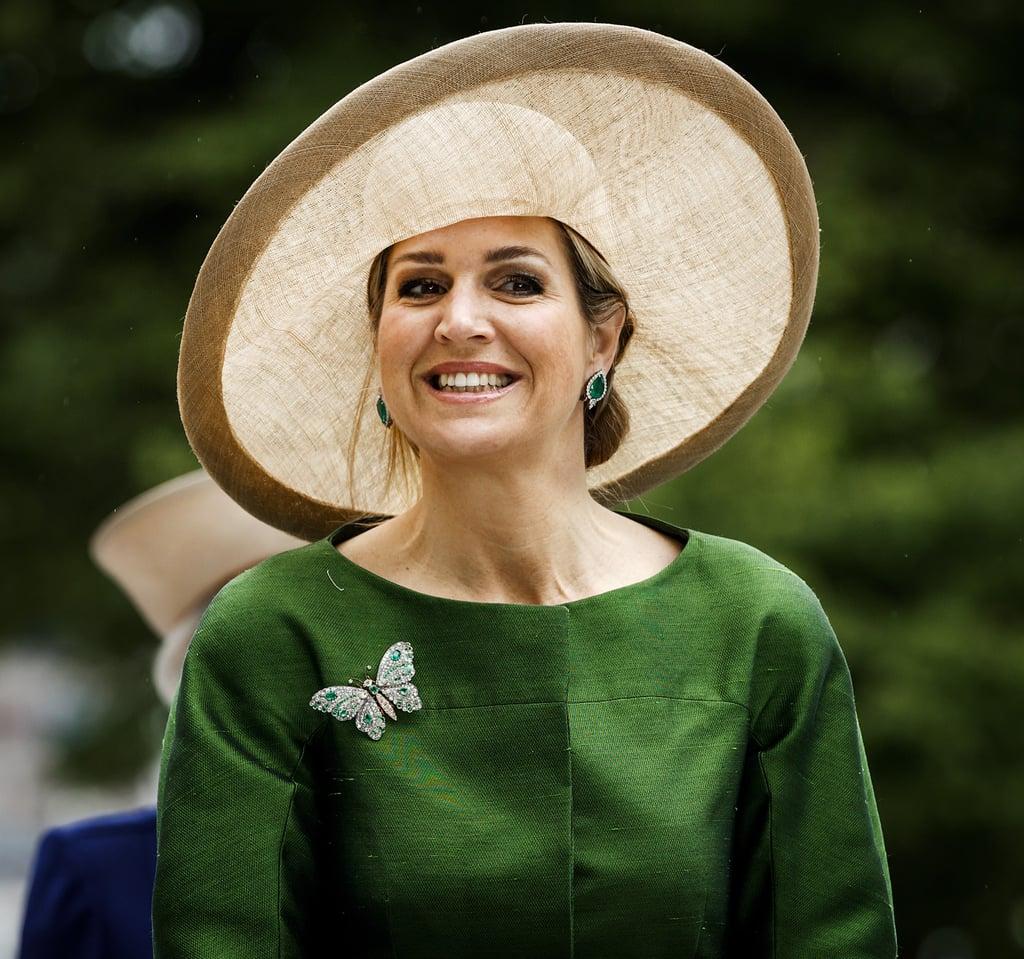 Queen Maxima Wearing a Wide-Brim Hat June 2016
