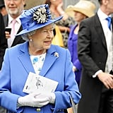 The queen wore blue.
