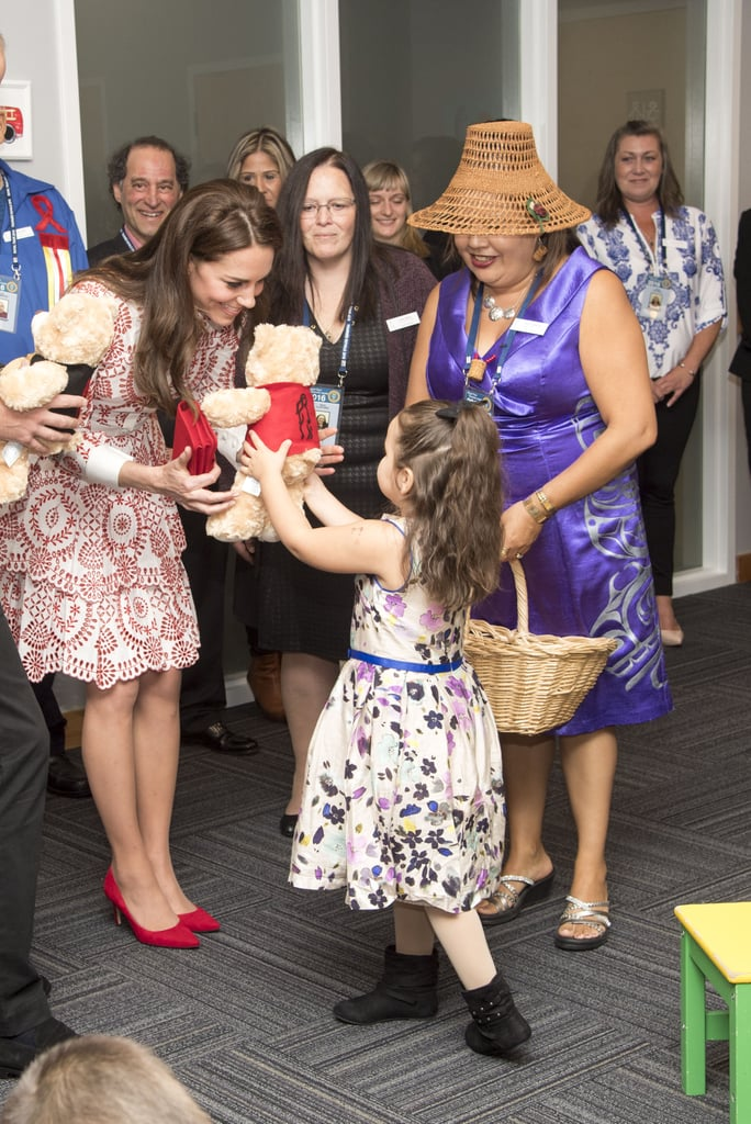 Kate was presented with teddy bears by a sweet little girl in Canada in September 2016.