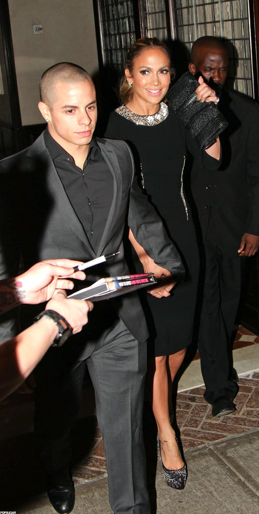 Jennifer Lopez wore a black dress with a studded collar for dinner with Casper Smart in NYC.