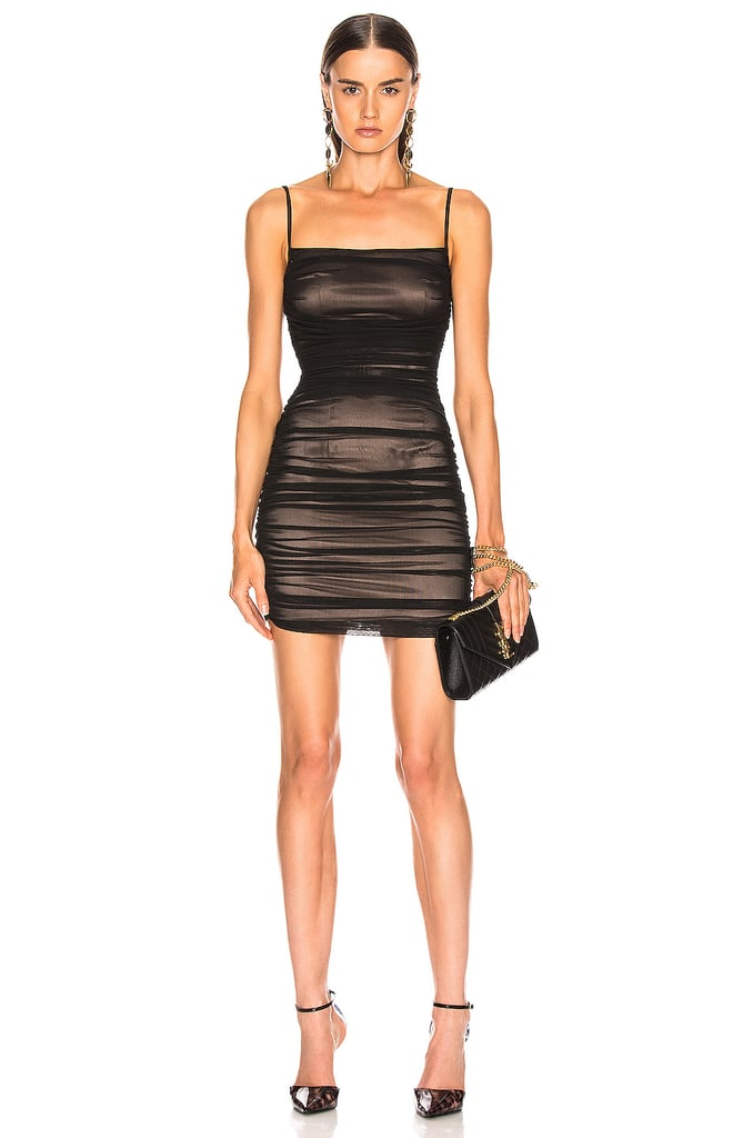 Zeynep Arcay Silk Tulle Mini Dress in Nude Black