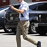 Justin Long was on the go on the set of Comet in LA on Monday.