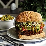 Mushroom and Lentil Burgers With Roasted Red Pepper Guacamole