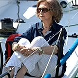 Queen Sofía in a Button-Up and Striped Pants, July 2006