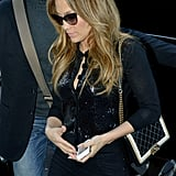 Jennifer Lopez wore an all-black ensemble in Paris.