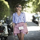 Experiment with gingham like street style star Helena Bordon.
