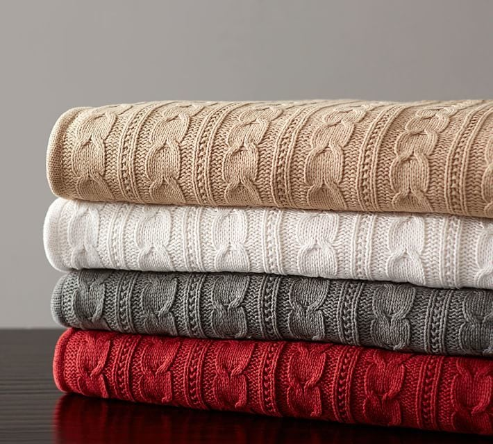 Pottery Barn Cozy Cable Knit Throw ($129)