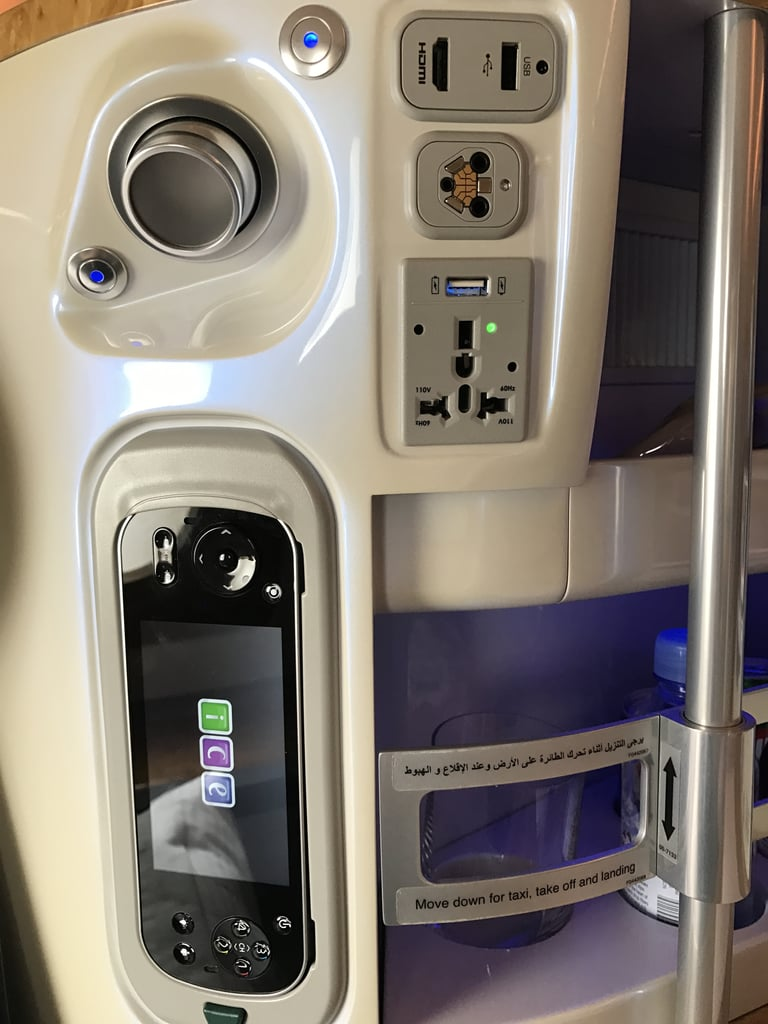 """You can adjust your seat """"pod"""" settings, charge your devices, and more."""