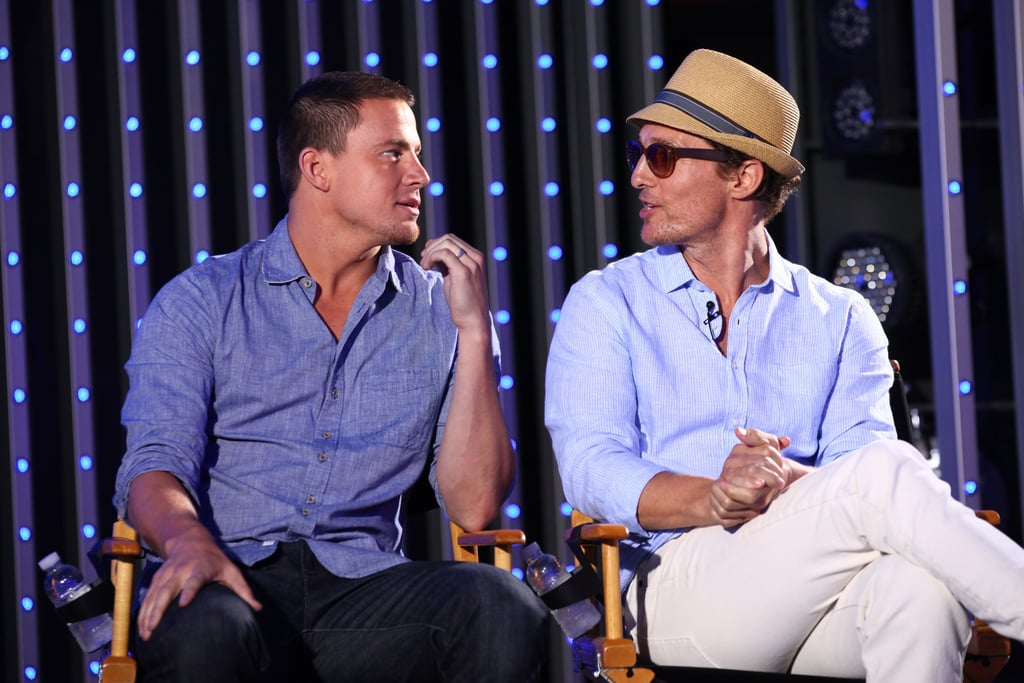 Channing Tatum and Matthew McConaughey gave each other a glance while chatting about Magic Mike.
