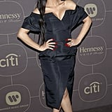 Wearing a chic LBD to the 2018 Warner Music Group Pre-Grammy Celebration.