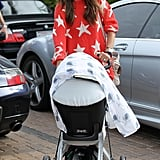 Alessandra Ambrosio pushed Noah into the market while out in LA.