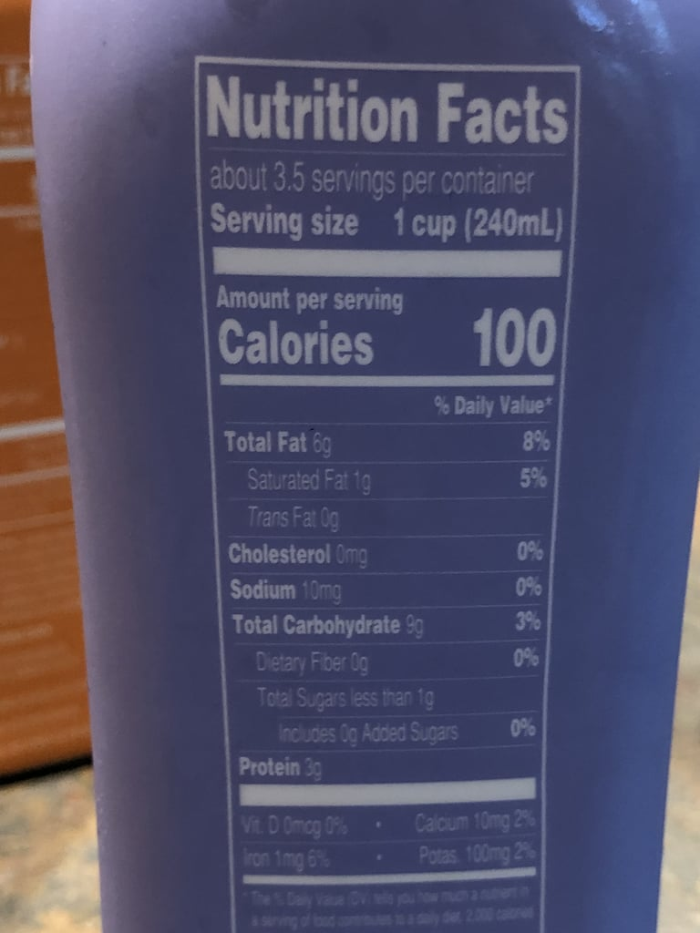 Nutritional Info of Plain Trader Joe's Cultured Cashew Beverage