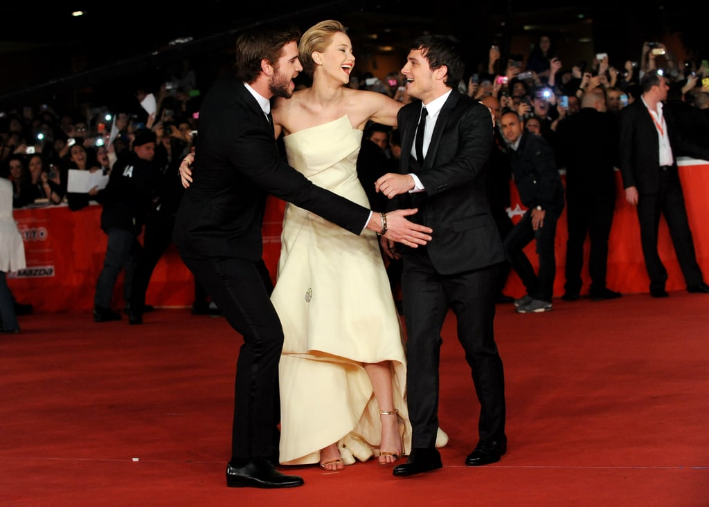 Jennifer Lawrence got close to her costars at the premiere in Rome.
