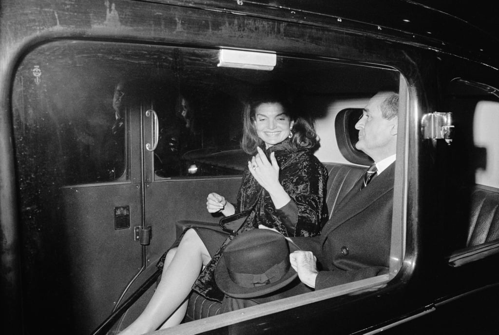 In December 1966, Jackie was pictured showing off the more intricate version of her engagement ring while leaving the Broadhurst Theatre where she saw Cabaret.