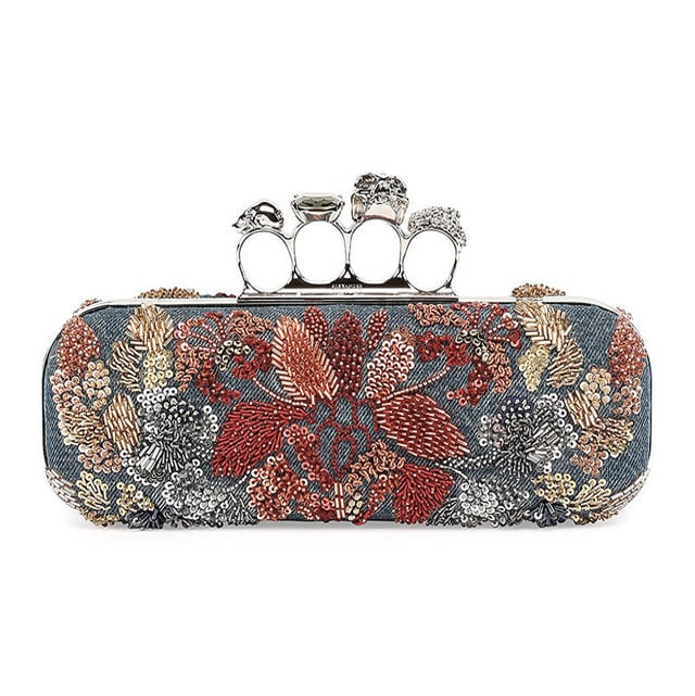 Alexander McQueen Knuckle Duster w/Floral Embroidery Denim Box Clutch Bag ($3,395)