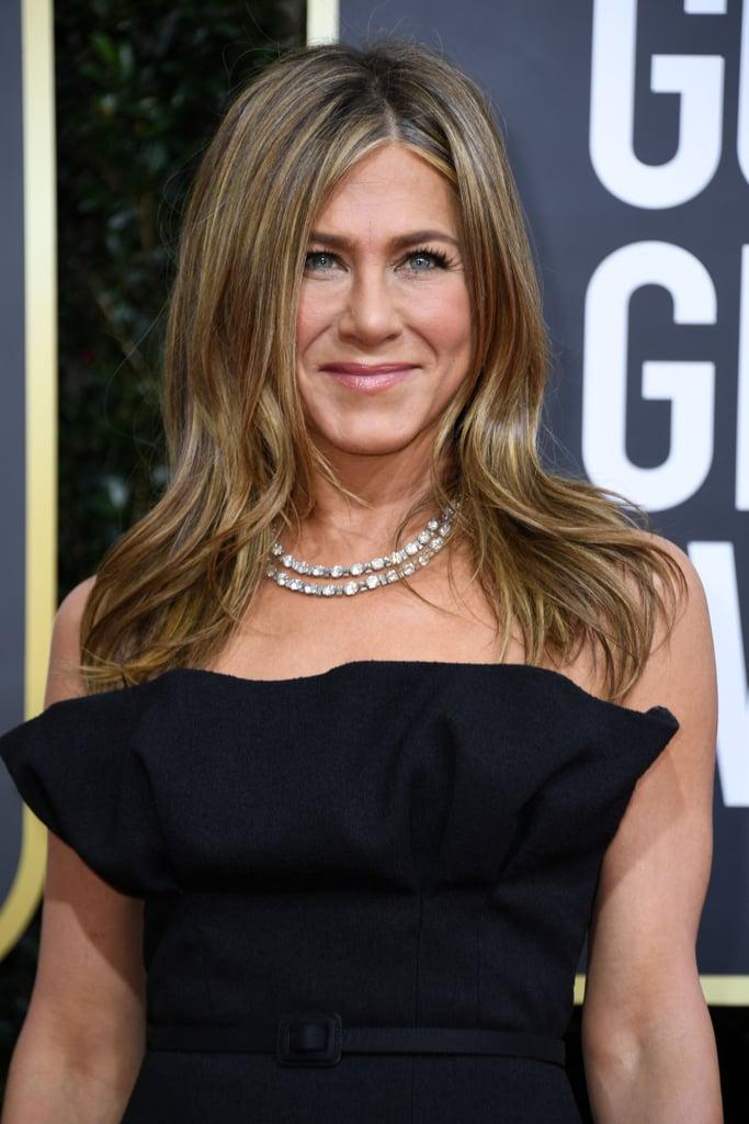 Jennifer Aniston S Sleek Black Gown At Golden Globes 2020