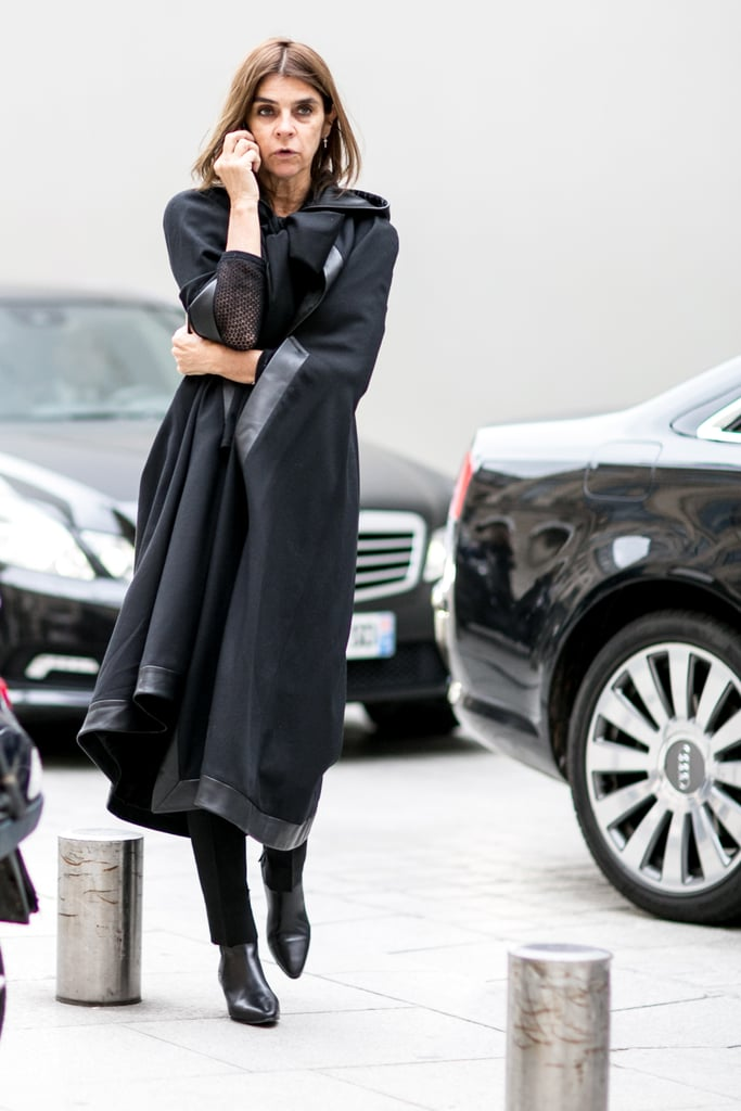 The master of moody-chic, Carine Roitfeld worked black head to toe.