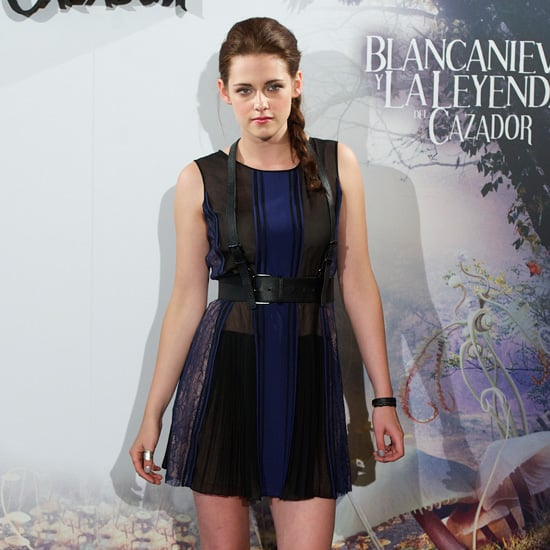 Kristen Stewart Sheer Blue Dress Black Harness