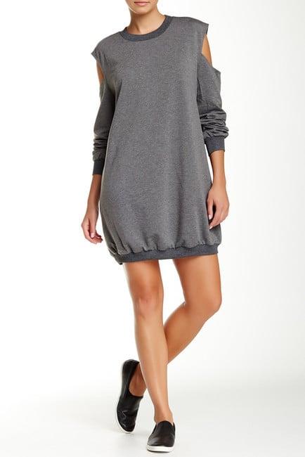 Lucca Couture Cold Shoulder Sweatshirt Dress ($90)