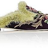 Alberta Ferretti Floral-Embroidered Velvet Mules