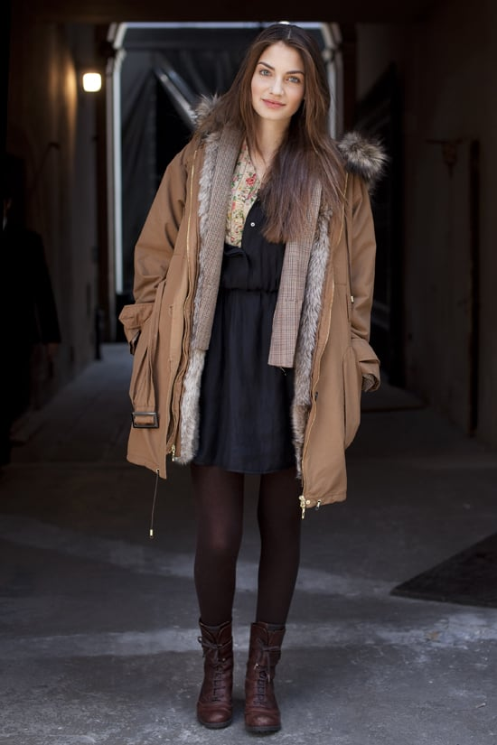"""The honey hue of the coat adds a bit of romance — and makes the floral blouse pop — in this monochrome look.  Shop the look: <iframe src=""""http://widget.shopstyle.com/widget?pid=uid5121-1693761-41&look=4355432&width=3&height=3&layouttype=0&border=0&footer=0"""" frameborder=""""0"""" height=""""244"""" scrolling=""""no"""" width=""""286""""></iframe> Photo via Stylesight"""