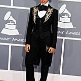 Janelle channeled her inner matador in an embellished three-piece suit at the 2013 Grammy Awards.