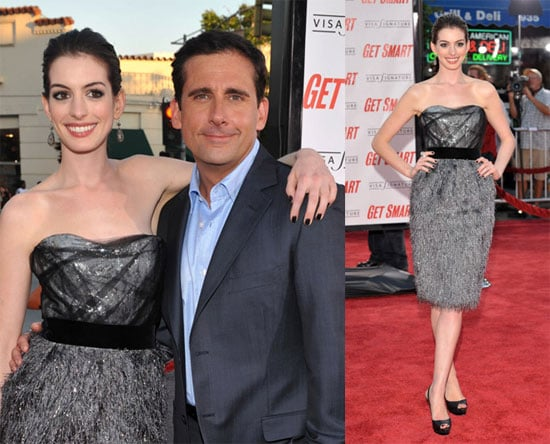 Anne Hathaway and Steve Carell at the Get Smart Movie Premiere
