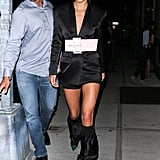 Kendall in a Satin Blazer Minidress