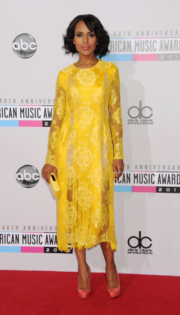 Kerry Washington stunned in a yellow lace Stella McCartney dress from the designer's Resort '13 collection.