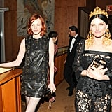 Karen Elson (in Saint Laurent) and Tabitha Simmons. Source: Neil Rasmus/BFAnyc.com