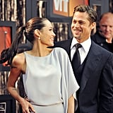 Angelina Jolie and Brad Pitt shared a laugh on the red carpet in 2009.