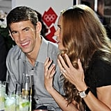 Michael Phelps shared a laugh with Natalie Coughlin.
