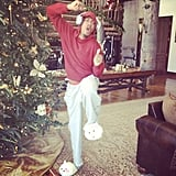 Mariah Carey caught Nick Cannon in his holiday finest. Source: Instagram user mariahcarey